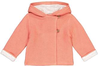 La Redoute Collections Cotton Knit Hooded Cardigan, Birth-2 Years