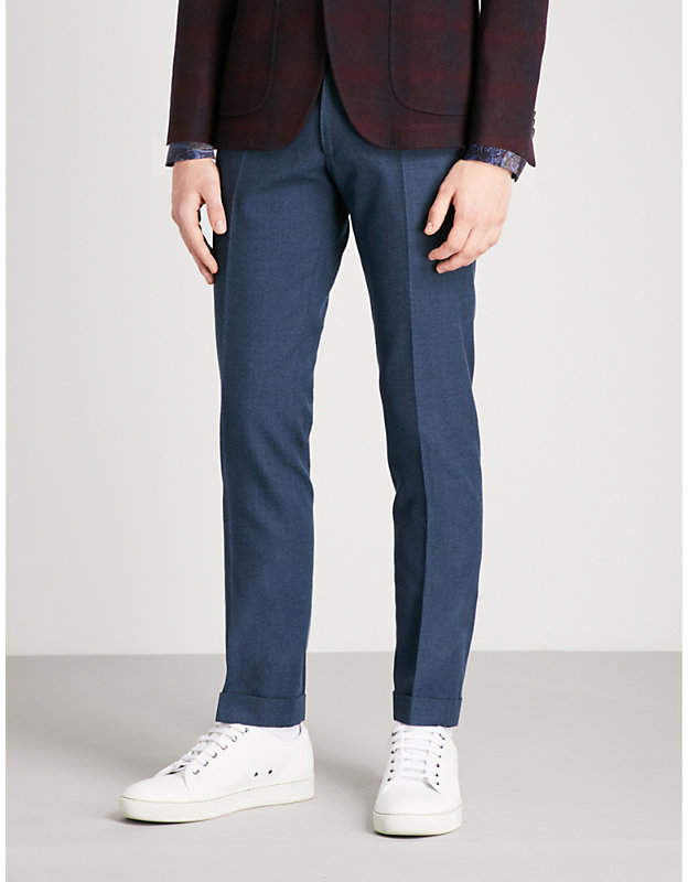 Etro Regular-fit tapered cotton and wool-blend trousers