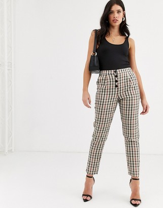 Vero Moda checked button front tapered pants