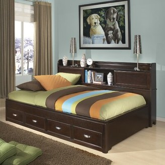 Makenzie Storage Mate's & Captain's Bed with Bookcase and 3 Drawers Alwyn Home Size: Full, Bed Frame Color: Dark Merlot