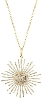 Nina Gilin 14K Yellow Gold & Diamond Pave Sun Pendant Necklace
