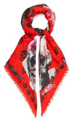 Alexander McQueen Torn Rose Skull-print Scarf - Womens - Black