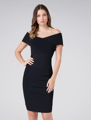 Forever New Bella Cross Front Bardot Dress - Black - 4