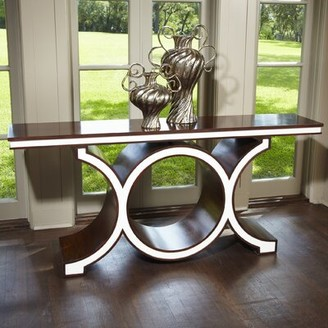"""Global Views 72"""" Console Table Color: Walnut/Ivory"""