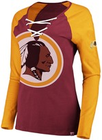 Majestic Women's Burgundy/Gold Washington Redskins Long Sleeve Lace-Up V-Neck T-Shirt