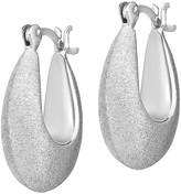 Sterling Oval Satin Hoop Earrings