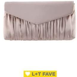 Nina Salome Pleated Satin Convertible Clutch