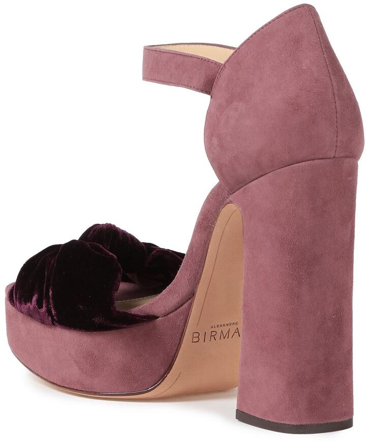 Thumbnail for your product : Alexandre Birman Quinn Velvet-trimmed Knotted Suede Platform Sandals