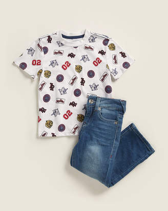 True Religion Toddler Boys) Two-Piece Patch Print Tee & Jeans Set