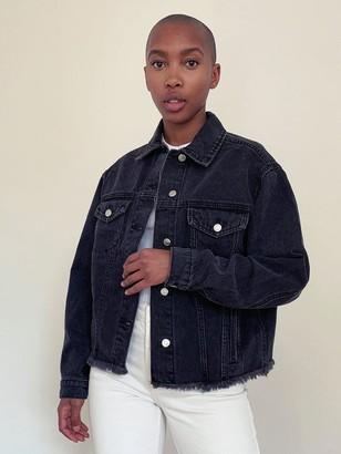 Topshop Raw Hem Oversized Denim Jacket - Washed Black