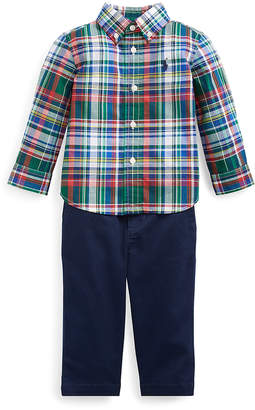 Ralph Lauren Boys' Casual Pants GREEN/RED - Green & Red Plaid Button-Up & Navy Chino Pants - Infant