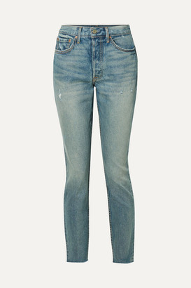 GRLFRND Karolina Distressed High-rise Skinny Jeans - Blue