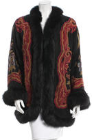 Adrienne Landau Fox-Trimmed Suede Coat