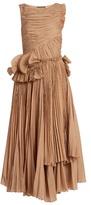 Rochas Pleated cotton-blend voile dress