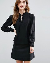 Traffic People Long Sleeve Blouse With Tie Detail