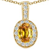 Tommaso design Studio Tommaso Design Oval 8x6mm Genuine Citrine and Diamond Pendant 14k