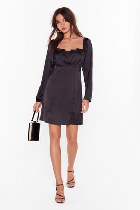 Nasty Gal Womens Turn Up the Pleat Satin Mini Dress - Black - 4
