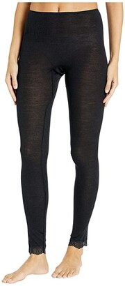 Hanro Woolen Lace Leggings (Black) Women's Casual Pants