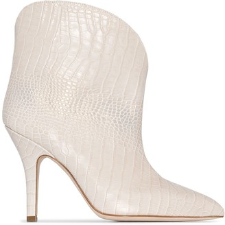 Paris Texas Crocodile-Effect 90mm Ankle Boots
