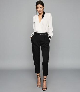 Reiss Jasmina - Wrap Front Blouse in White/ Black