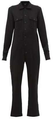 story. White Button-down Crepe Jumpsuit - Womens - Black