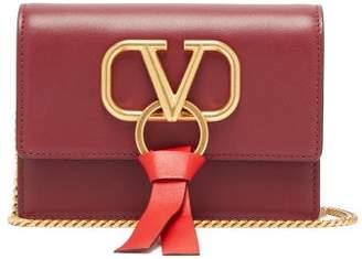 Valentino V-ring Small Leather Cross-body Bag - Womens - Burgundy