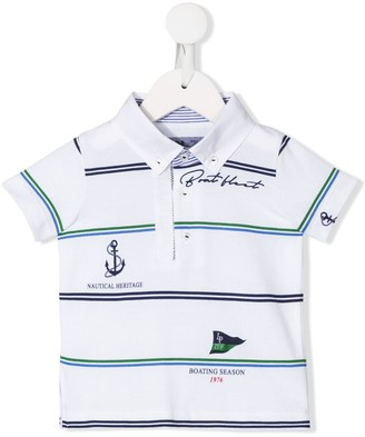 Lapin House Boat Float print striped polo shirt