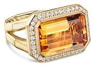 David Yurman 18K Yellow Gold Novella Statement Ring with Madeira Citrine & Diamonds