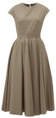 Rochas Full Skirt Checked Wool Blend Midi Dress - Womens - Brown Multi