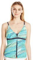 Free Country Women's Wavy Dot Fly Away Tankini