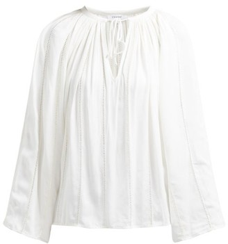 Frame Lattice-trimmed Tie-front Peasant Top - Cream