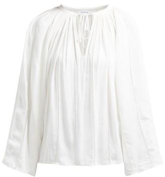 Frame Lattice Trimmed Tie Front Peasant Top - Womens - Cream