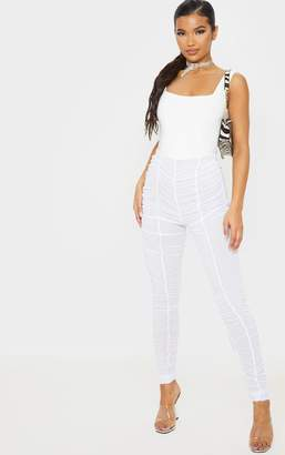 ASA Trad White Ruched Mesh Layered Trouser