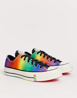 Converse Pride Chuck '70 Lo Rainbow Black Glitter Trainers-Multi