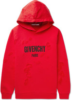 Givenchy Cuban-Fit Distressed Printed Cotton-Jersey And Neoprene Hoodie
