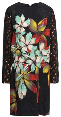 Etro Paneled Floral-print Satin-jacquard And Crepe De Chine Dress