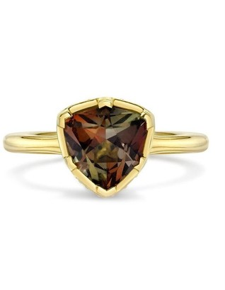 Andy Lif 18kt Yellow Gold Precision Trigger Cut Andalusite, Sapphire And Lapis Ring