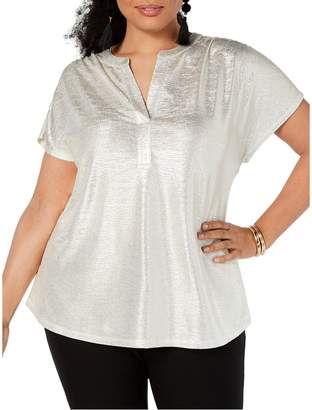 INC International Concepts Plus Textured Metallic Top