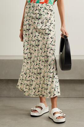 Rixo Kelly Printed Silk Crepe De Chine Maxi Skirt - Black