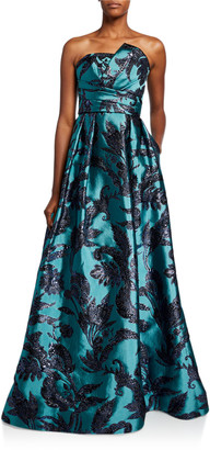 Couture Theia Strapless Bustier Brocade A-Line Gown with Draped Bodice