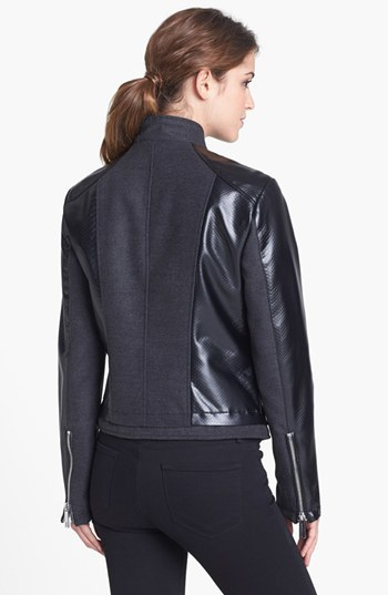 Kenneth Cole New York Faux Leather & Melton Moto Jacket (Online Only)
