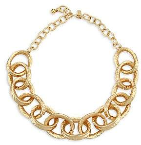 Kenneth Jay Lane Women's 22K Goldplated Hammered Oval-Link Necklace