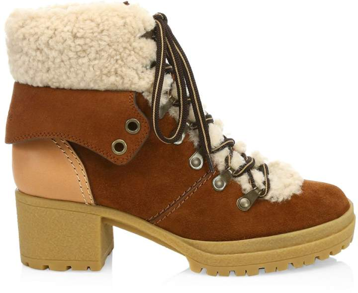d53e3a0e5ad Eileen Lace-Up Shearling-Lined Ankle Boots