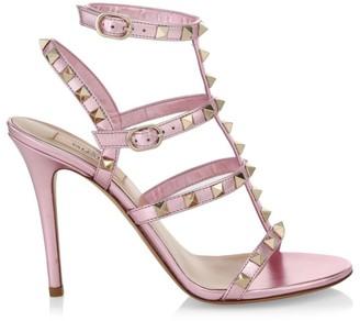 Valentino Rockstud T-Strap Metallic Leather Sandals