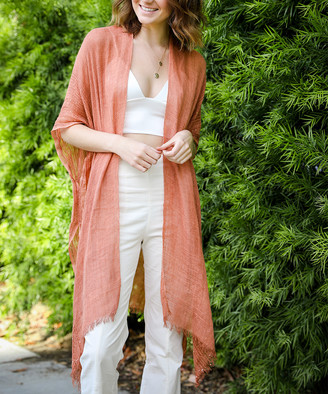 Leto Collection Women's Kimono Cardigans COPPER - Copper Sequin-Accent Fringe-Hem Kimono - Women