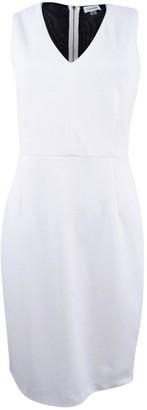 Calvin Klein Women's V-Neck Sheath Dress with Sheer Back Panel