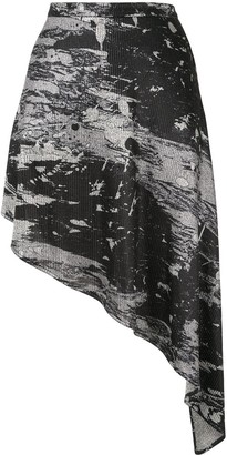 Strateas Carlucci Abstract-Print Asymmetric Skirt