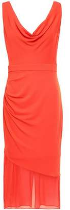Cushnie Chiffon-paneled Draped Stretch-crepe Dress