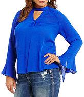 Blu Pepper Plus Crinkle Flounce Sleeve Blouse