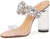 Schutz Blanck See-Through Slide Sandals with Crystals